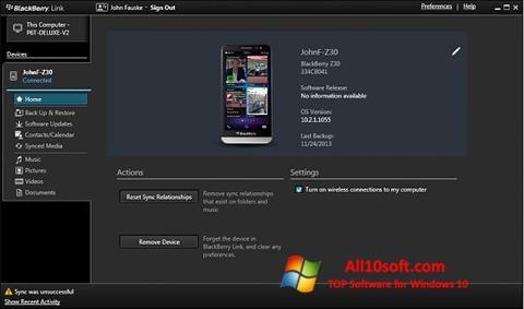Képernyőkép BlackBerry Link Windows 10
