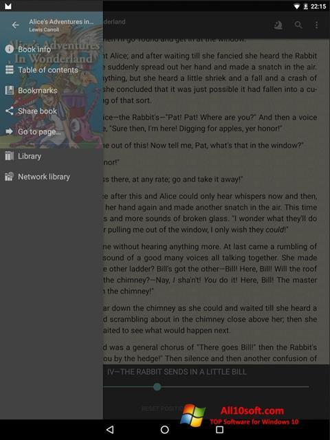 Képernyőkép FBReader Windows 10