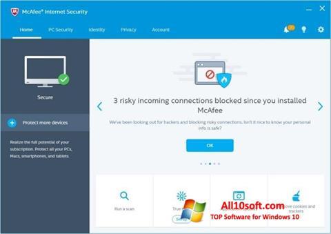 Képernyőkép McAfee Internet Security Windows 10