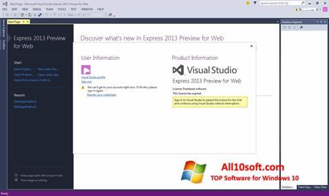 Képernyőkép Microsoft Visual Studio Windows 10
