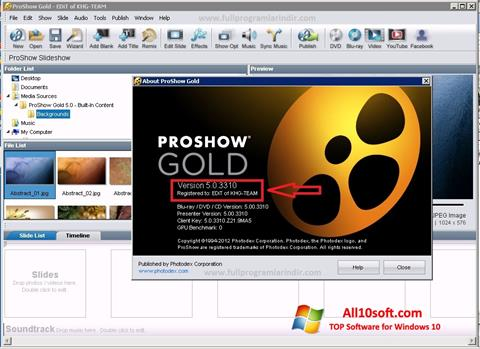 Képernyőkép ProShow Gold Windows 10