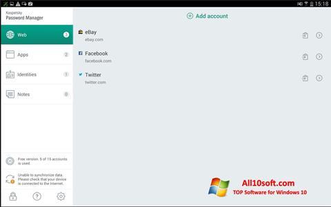 Képernyőkép Kaspersky Password Manager Windows 10