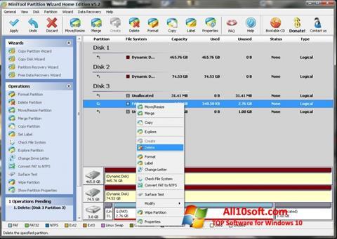 Képernyőkép MiniTool Partition Wizard Windows 10