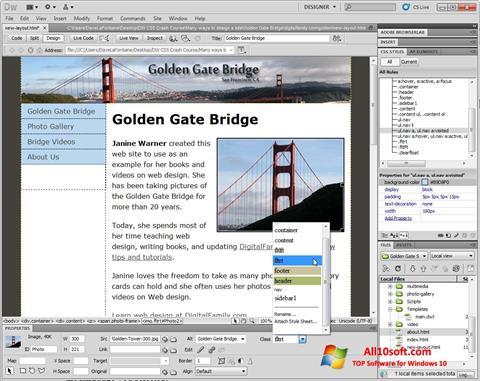 Képernyőkép Adobe Dreamweaver Windows 10