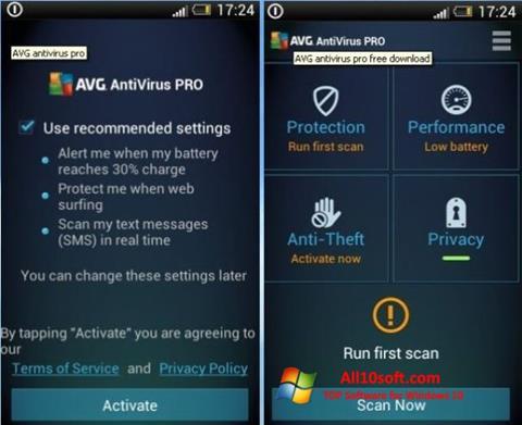 Képernyőkép AVG AntiVirus Pro Windows 10