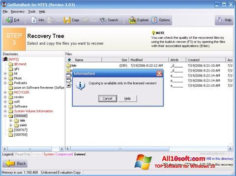 Képernyőkép GetDataBack Windows 10