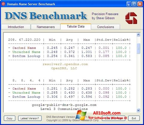 Képernyőkép DNS Benchmark Windows 10