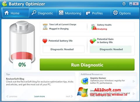 Képernyőkép Battery Optimizer Windows 10