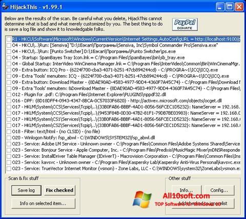 Képernyőkép HijackThis Windows 10