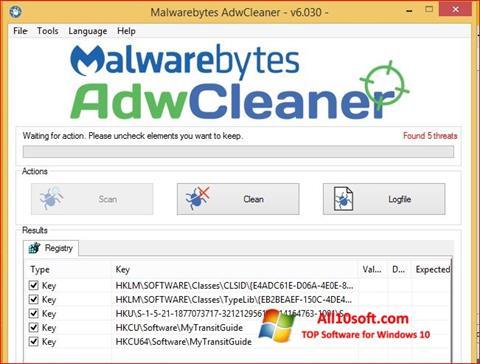 Képernyőkép AdwCleaner Windows 10