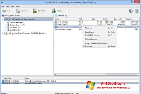 Képernyőkép Active Partition Recovery Windows 10