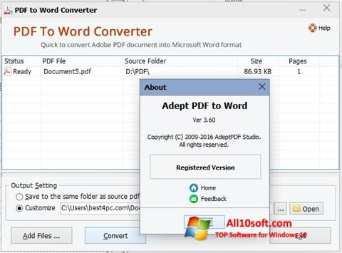 Képernyőkép PDF to Word Converter Windows 10