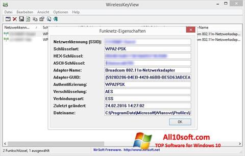 Képernyőkép WirelessKeyView Windows 10