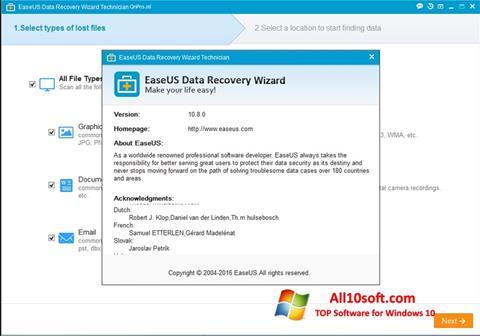 Képernyőkép EaseUS Data Recovery Wizard Windows 10