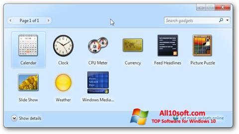 Képernyőkép 8GadgetPack Windows 10