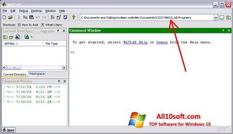 Képernyőkép MATLAB Windows 10