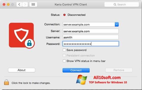 Képernyőkép Kerio VPN Client Windows 10
