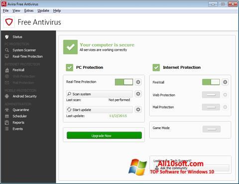 Képernyőkép Avira Free Antivirus Windows 10
