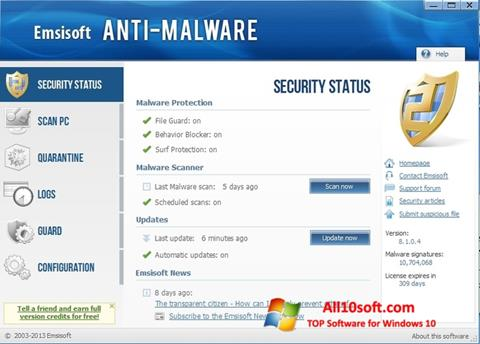 Képernyőkép Emsisoft Anti-Malware Windows 10