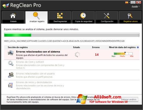 Képernyőkép RegClean Pro Windows 10