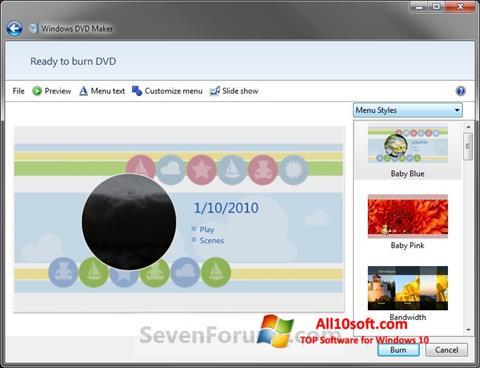 Képernyőkép DVD Maker Windows 10
