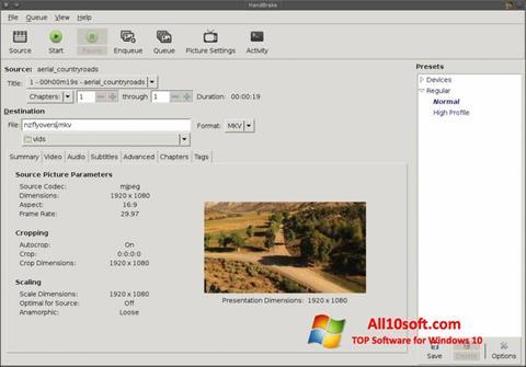 Képernyőkép HandBrake Windows 10