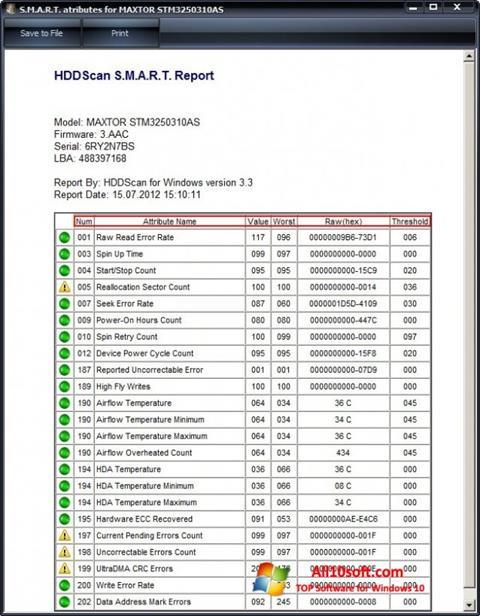 Képernyőkép HDDScan Windows 10