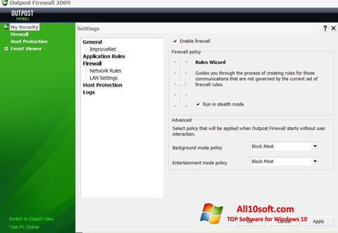 Képernyőkép Outpost Firewall Free Windows 10