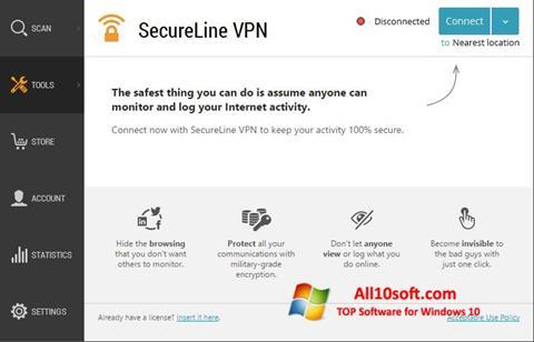Képernyőkép Avast SecureLine VPN Windows 10