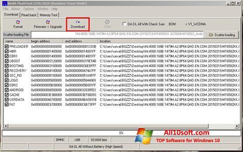 Képernyőkép FlashTool Windows 10