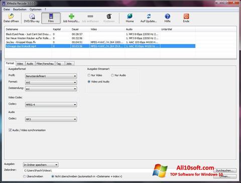Képernyőkép XMedia Recode Windows 10