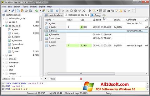Képernyőkép HeidiSQL Windows 10