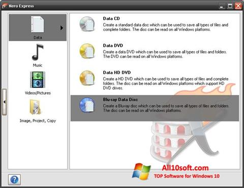 Képernyőkép Nero Micro Windows 10