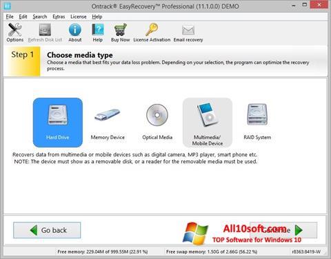 Képernyőkép EasyRecovery Professional Windows 10