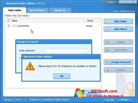 Képernyőkép Hide Folders Windows 10