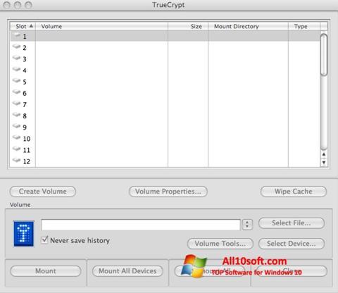 Képernyőkép TrueCrypt Windows 10