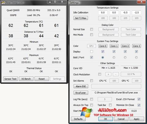 Képernyőkép Real Temp Windows 10