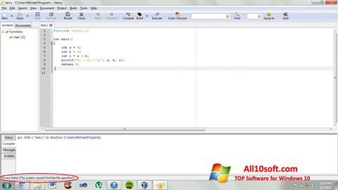 Képernyőkép Geany Windows 10