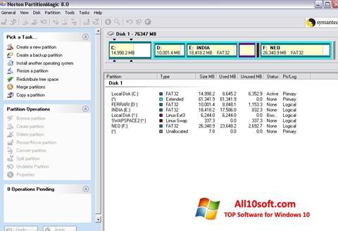 Képernyőkép Norton Partition Magic Windows 10