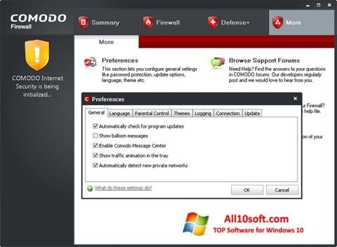Képernyőkép Comodo Firewall Windows 10