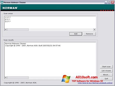 Képernyőkép Norman Malware Cleaner Windows 10