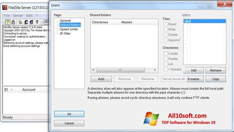 Képernyőkép FileZilla Server Windows 10