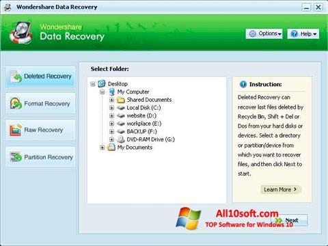 Képernyőkép Wondershare Data Recovery Windows 10