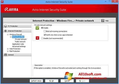 Képernyőkép Avira Internet Security Windows 10