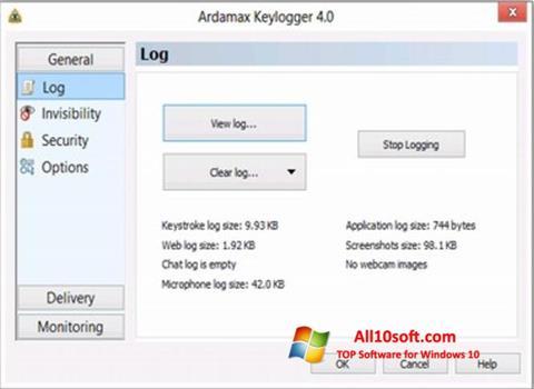 Képernyőkép Ardamax Keylogger Windows 10