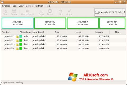 Képernyőkép GParted Windows 10