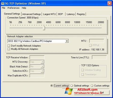 Képernyőkép TCP Optimizer Windows 10