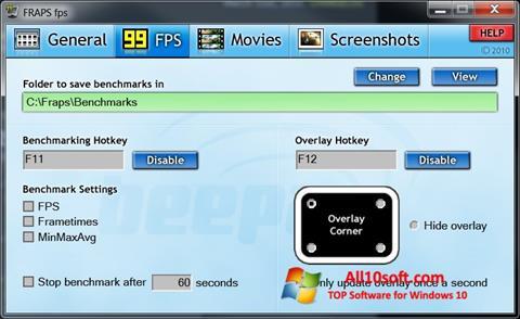 Képernyőkép Fraps Windows 10