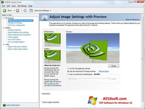 Képernyőkép NVIDIA ForceWare Windows 10