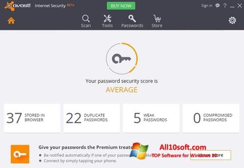 Képernyőkép Avast Internet Security Windows 10